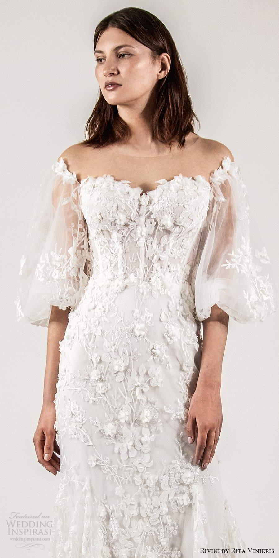 rivini rita vinieris spring 2021 bridal elbow length bishop sleeves sheer off shoulder sweetheart neckline fully embellished fit flare a line wedding dress (2) lv