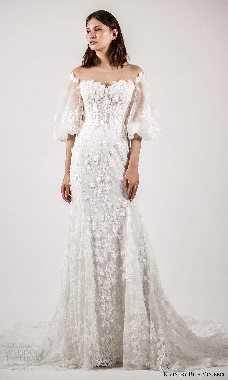 rivini rita vinieris spring 2021 bridal elbow length bishop sleeves sheer off shoulder sweetheart neckline fully embellished fit flare a line wedding dress (2) mv
