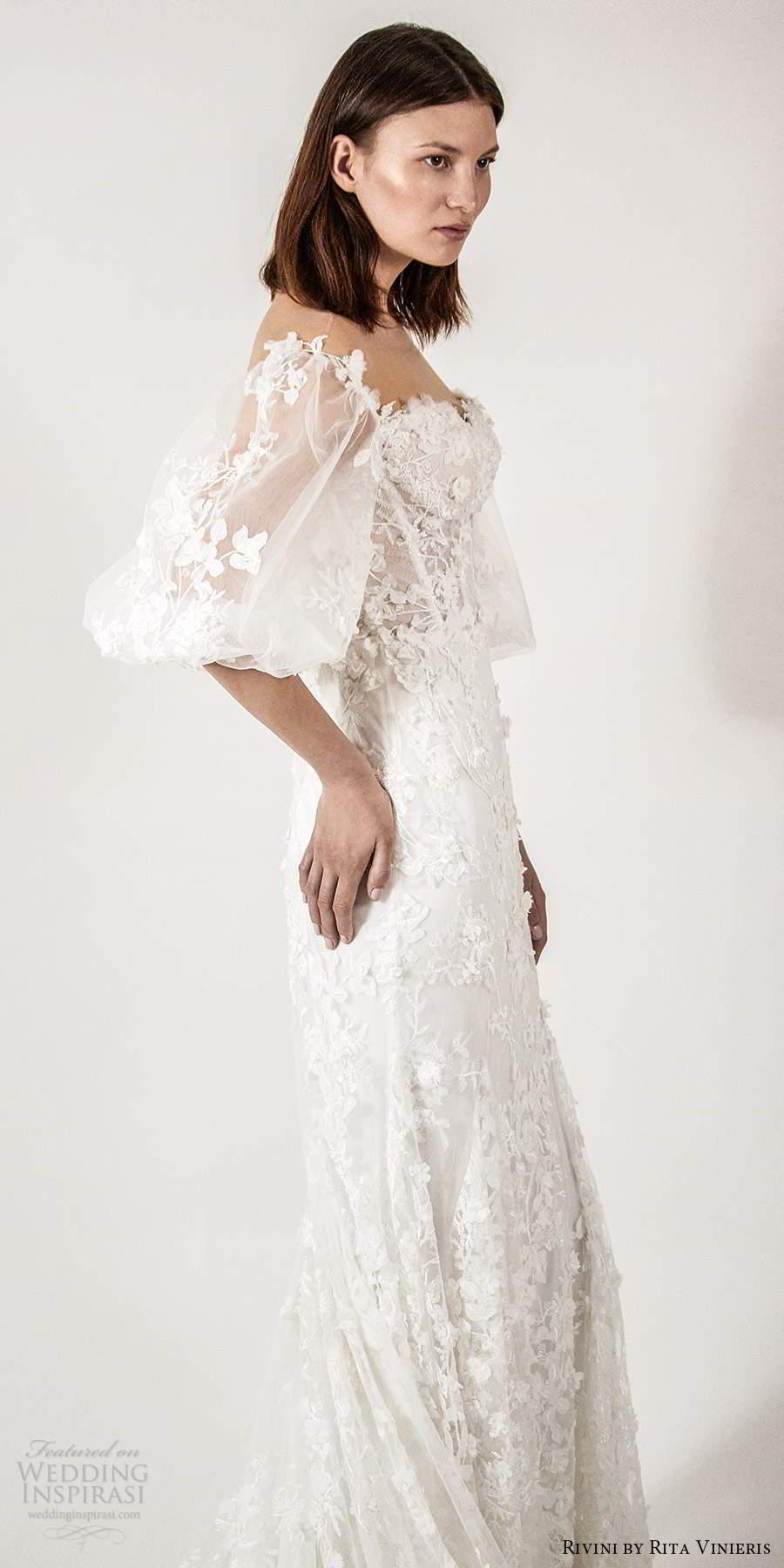 rivini rita vinieris spring 2021 bridal elbow length bishop sleeves sheer off shoulder sweetheart neckline fully embellished fit flare a line wedding dress (2) zsv