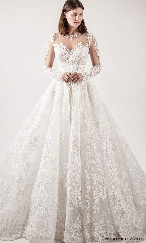 rivini rita vinieris spring 2021 bridal illusion long sleeves sheer jewel sweetheart neckline fully embellished lace a line ball gown wedding dress chapel train (1) mv
