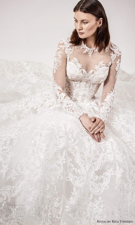rivini rita vinieris spring 2021 bridal illusion long sleeves sheer jewel sweetheart neckline fully embellished lace a line ball gown wedding dress chapel train (1) zv