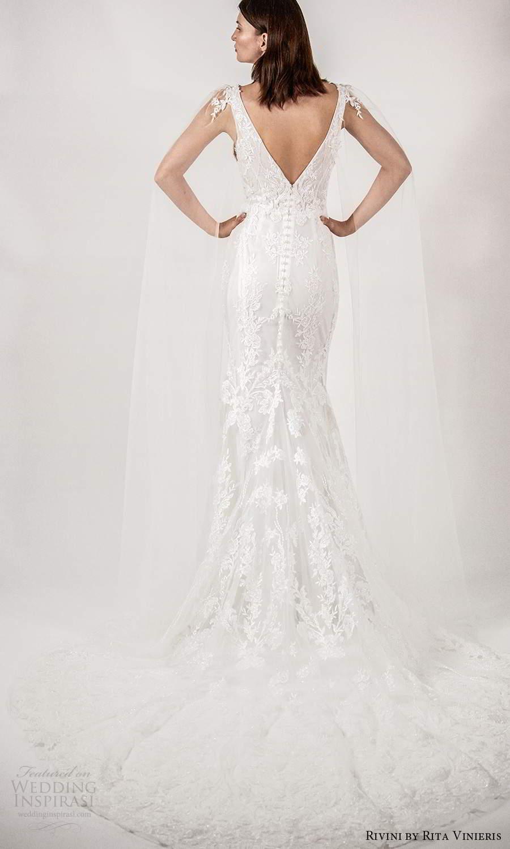 rivini rita vinieris spring 2021 bridal illusion split long sleeves thick straps plunging v neckline fully embellished lace sheath wedding dress chapel train (5) bv
