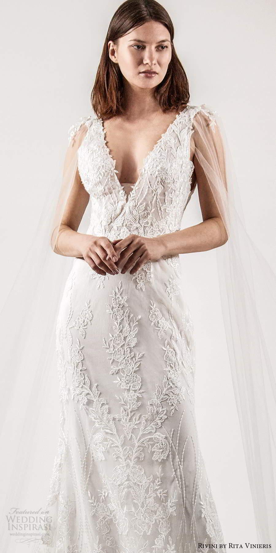 rivini rita vinieris spring 2021 bridal illusion split long sleeves thick straps plunging v neckline fully embellished lace sheath wedding dress chapel train (5) lv
