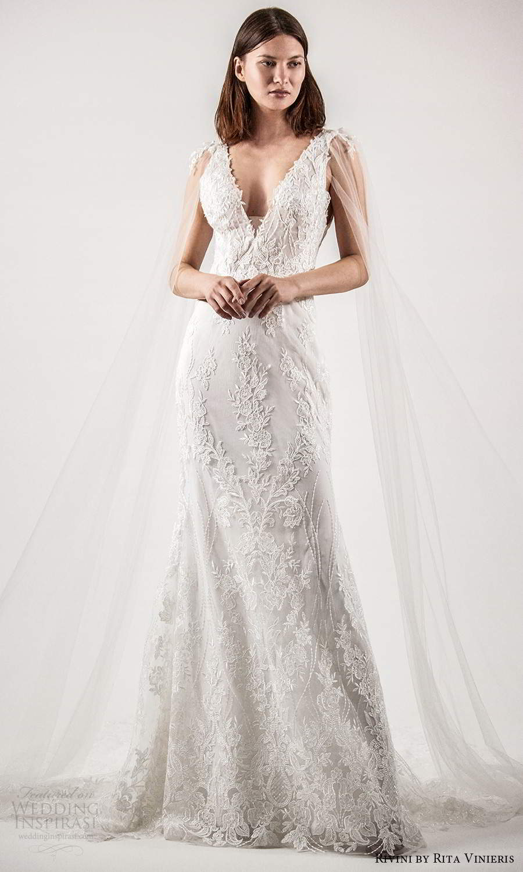 rivini rita vinieris spring 2021 bridal illusion split long sleeves thick straps plunging v neckline fully embellished lace sheath wedding dress chapel train (5) mv