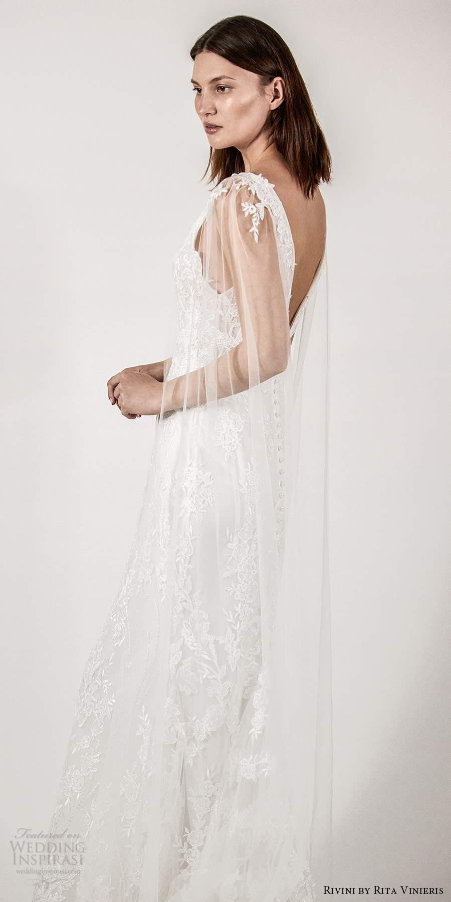 rivini rita vinieris spring 2021 bridal illusion split long sleeves thick straps plunging v neckline fully embellished lace sheath wedding dress chapel train (5) sv