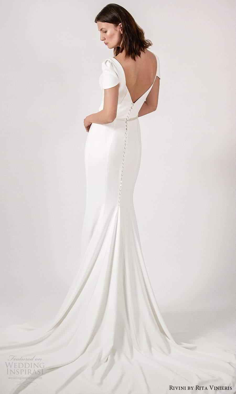 rivini rita vinieris spring 2021 bridal short sleeves queen anne neckline clean minimalist fit flare trumpet a line wedding dress chapel train (3) bv