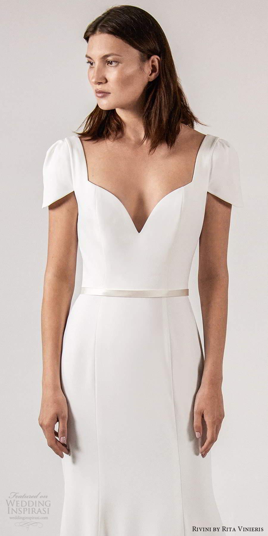 rivini rita vinieris spring 2021 bridal short sleeves queen anne neckline clean minimalist fit flare trumpet a line wedding dress chapel train (3) lv