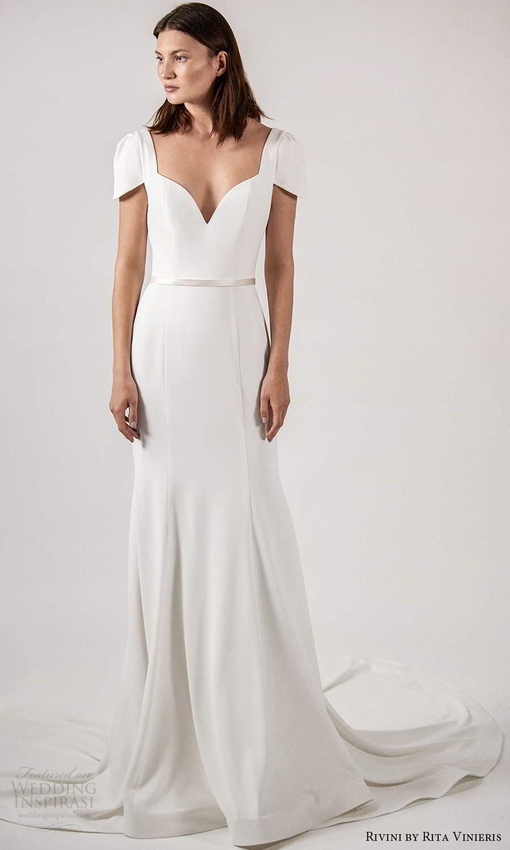 rivini rita vinieris spring 2021 bridal short sleeves queen anne neckline clean minimalist fit flare trumpet a line wedding dress chapel train (3) mv