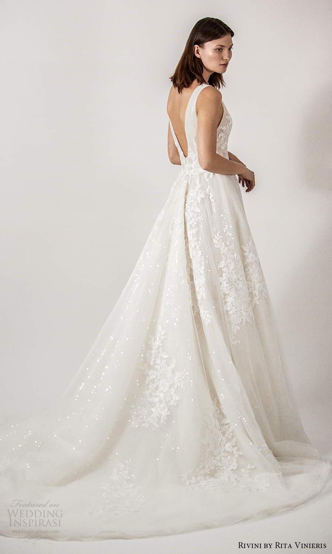 rivini rita vinieris spring 2021 bridal sleeveless thick straps v neckline embellished a line ball gown wedding dress (7) bv