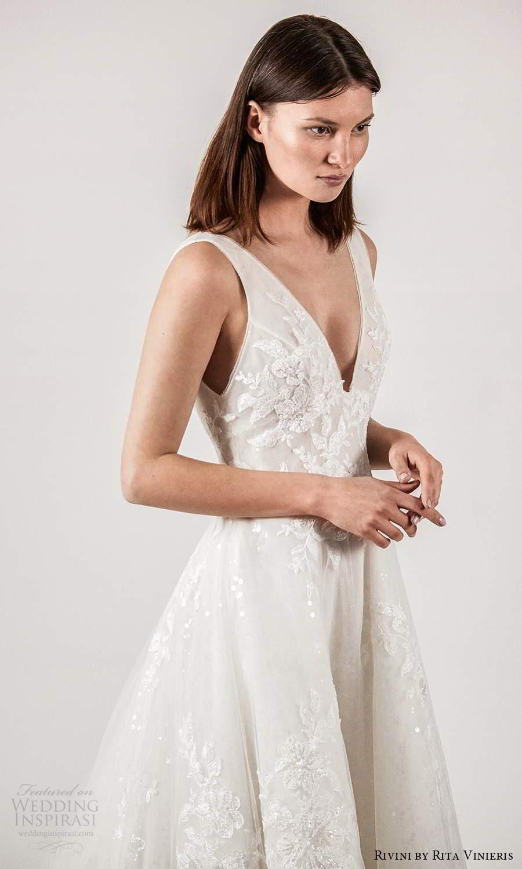rivini rita vinieris spring 2021 bridal sleeveless thick straps v neckline embellished a line ball gown wedding dress (7) mv