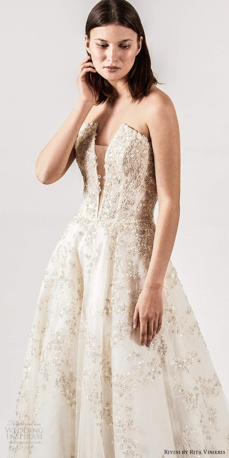 rivini rita vinieris spring 2021 bridal strapless straight across split neckline fully embellished a line ball gown wedding dress champagne chapel train (4) lv