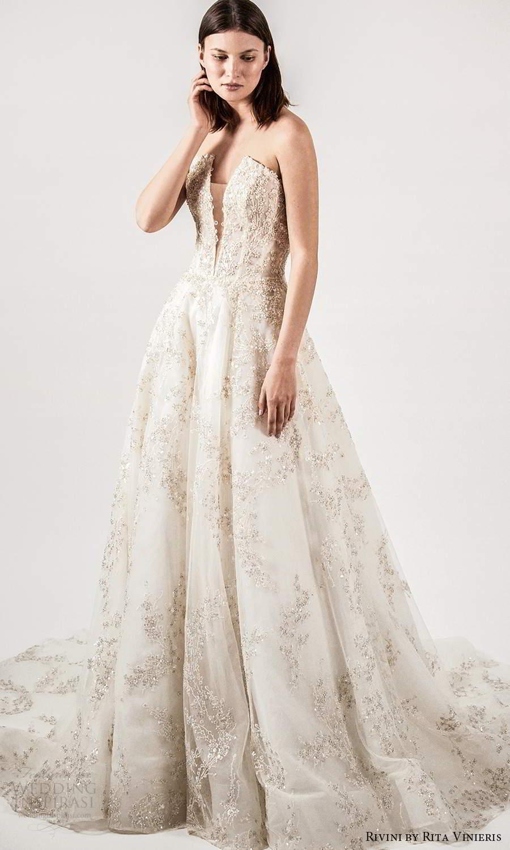 rivini rita vinieris spring 2021 bridal strapless straight across split neckline fully embellished a line ball gown wedding dress champagne chapel train (4) mv