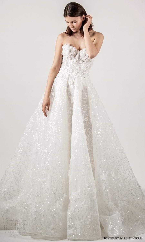 rivini rita vinieris spring 2021 bridal strapless sweetheart neckline fully embellished a line ball gown wedding dress chapel train (6) mv
