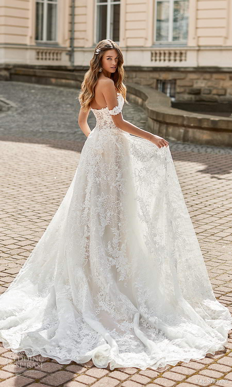 val stefani spring 2021 bridal off shoulder straps sweetheart neckline fully embellished a line ball gown wedding dress chapel train (8) bv