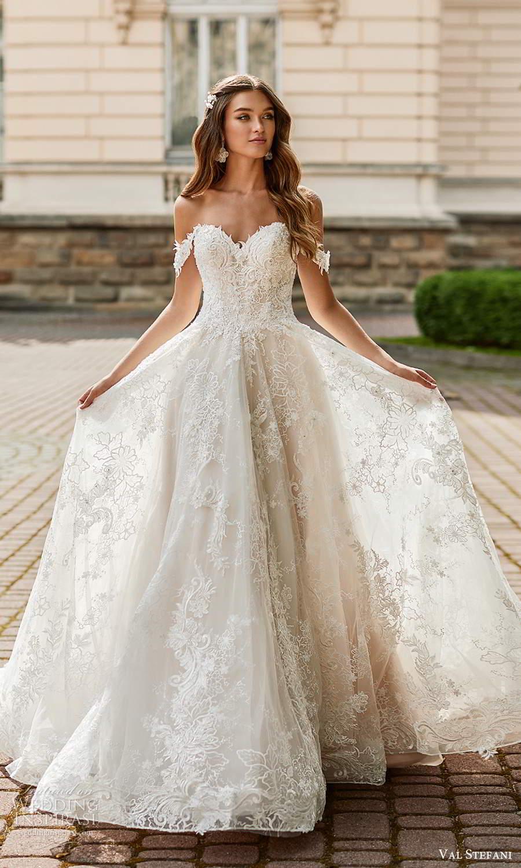val stefani spring 2021 bridal off shoulder straps sweetheart neckline fully embellished a line ball gown wedding dress chapel train (8) mv