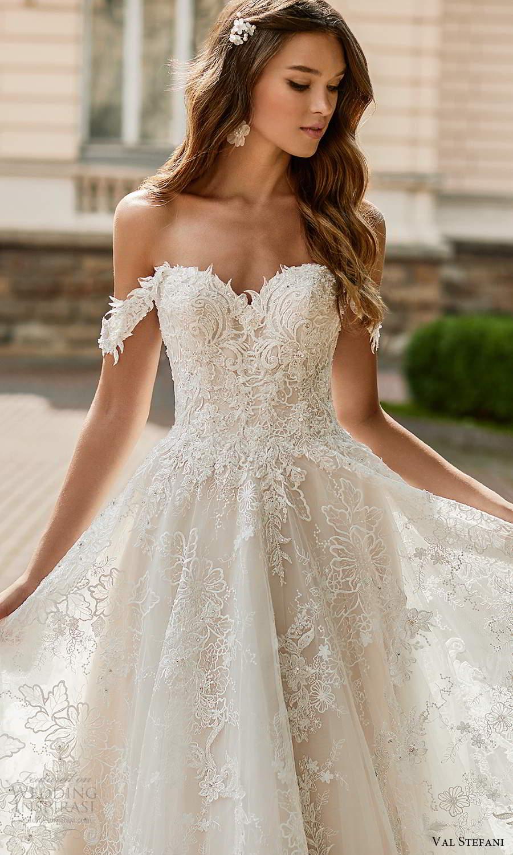 val stefani spring 2021 bridal off shoulder straps sweetheart neckline fully embellished a line ball gown wedding dress chapel train (8) zv