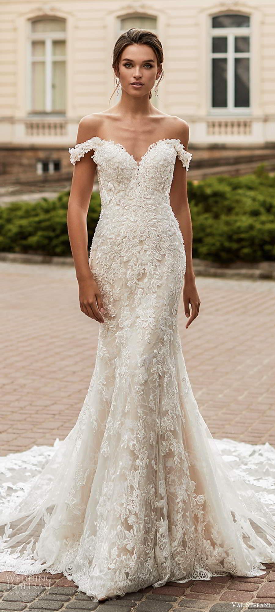 val stefani spring 2021 bridal off shoulder straps sweetheart neckline fully embellished fit flare wedding dress chapel train (6) lv