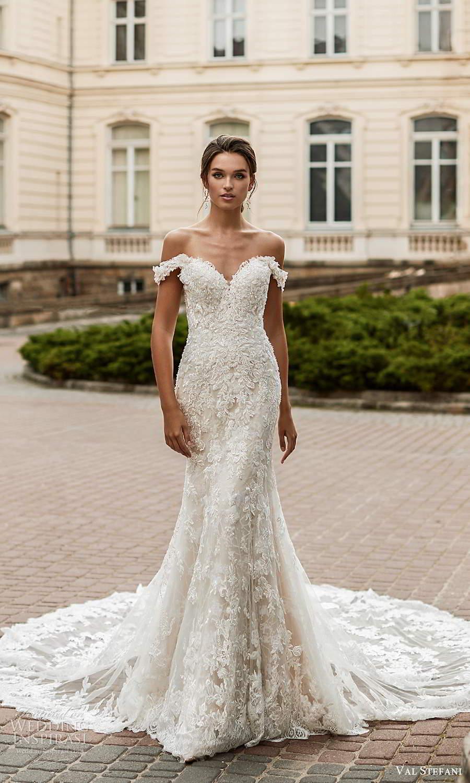 val stefani spring 2021 bridal off shoulder straps sweetheart neckline fully embellished fit flare wedding dress chapel train (6) mv
