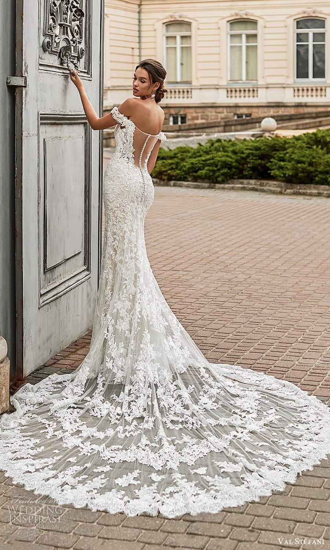 val stefani spring 2021 bridal off shoulder straps sweetheart neckline fully embellished fit flare wedding dress chapel train illusion back (6) mv
