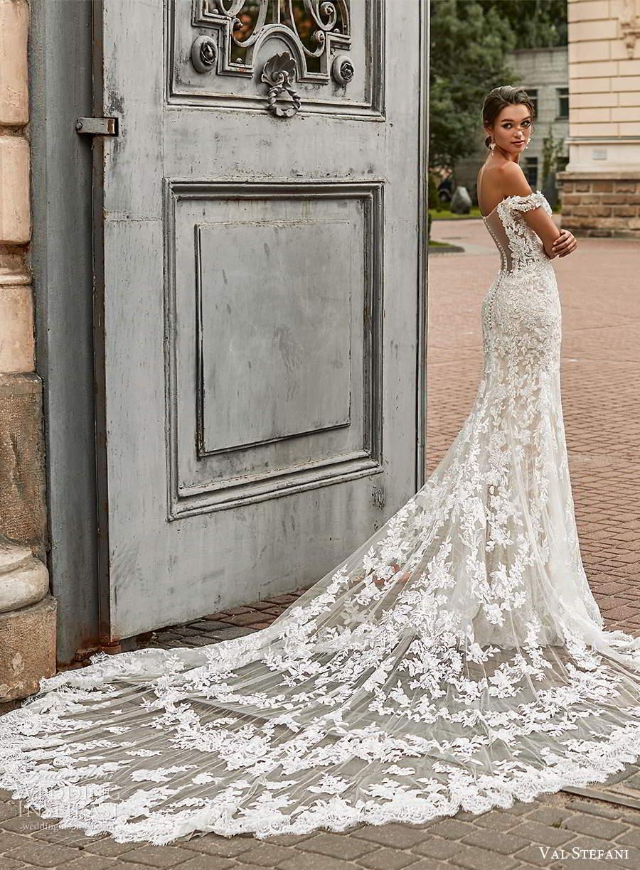 val stefani spring 2021 bridal off shoulder straps sweetheart neckline fully embellished fit flare wedding dress chapel train illusion back (6) sv