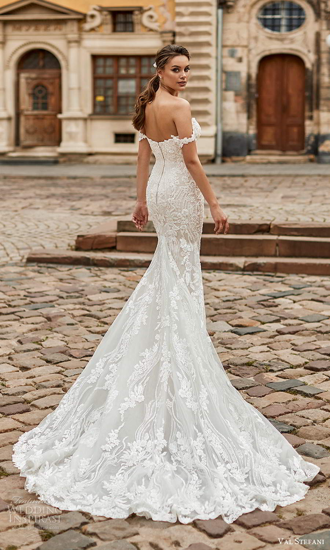 val stefani spring 2021 bridal off shoulder straps sweetheart neckline fully embellished lace sheath mermaid wedding dress chapel train (2) bv