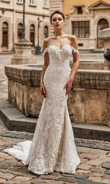 val stefani spring 2021 bridal off shoulder straps sweetheart neckline fully embellished lace sheath mermaid wedding dress chapel train (2) mv