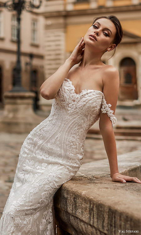 val stefani spring 2021 bridal off shoulder straps sweetheart neckline fully embellished lace sheath mermaid wedding dress chapel train (2) zv