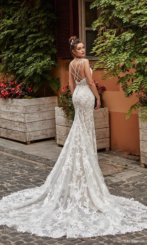 val stefani spring 2021 bridal sleeveless double straps sweetheart neckline fully embellished fit flare mermaid wedding dress chapel train (1) bv