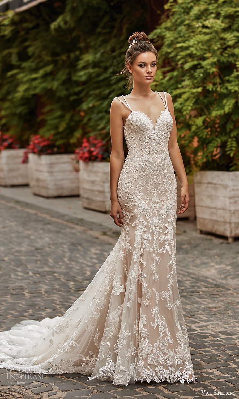 val stefani spring 2021 bridal sleeveless double straps sweetheart neckline fully embellished fit flare mermaid wedding dress chapel train (1) mv