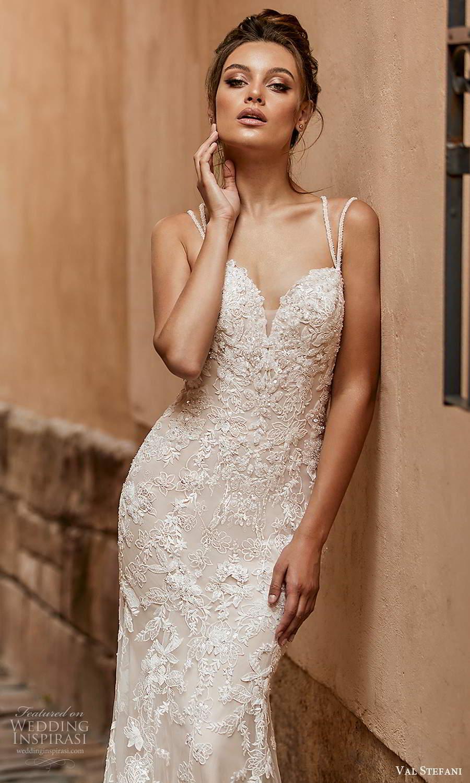 val stefani spring 2021 bridal sleeveless double straps sweetheart neckline fully embellished fit flare mermaid wedding dress chapel train (1) zv