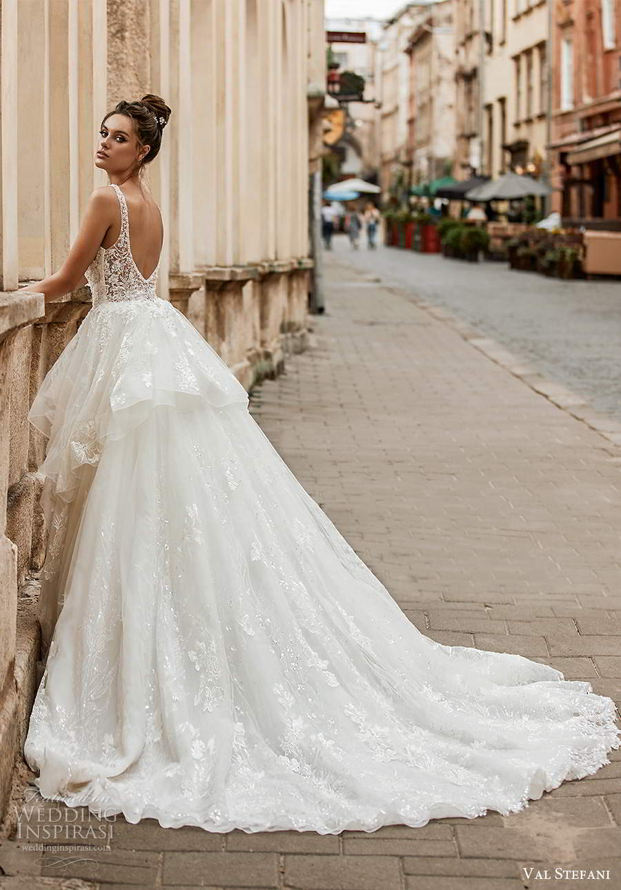val stefani spring 2021 bridal sleeveless straps plunging v neckline embellished a line ball gown wedding dress tiered skirt chapel train (3) bv