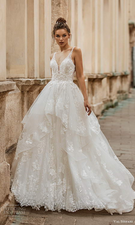 val stefani spring 2021 bridal sleeveless straps plunging v neckline embellished a line ball gown wedding dress tiered skirt chapel train (3) mv