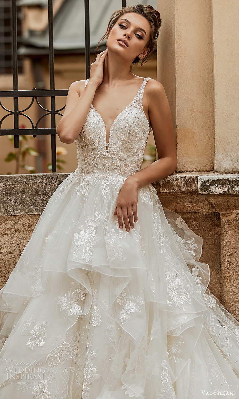 val stefani spring 2021 bridal sleeveless straps plunging v neckline embellished a line ball gown wedding dress tiered skirt chapel train (3) zv