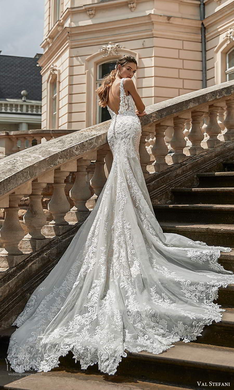 val stefani spring 2021 bridal sleeveless straps v neckline fully embellished fit flare mermaid wedding dress chapel train (5) bv