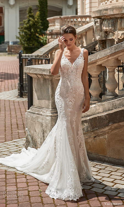 val stefani spring 2021 bridal sleeveless straps v neckline fully embellished fit flare mermaid wedding dress chapel train (5) mv
