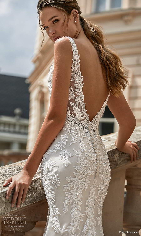 val stefani spring 2021 bridal sleeveless straps v neckline fully embellished fit flare mermaid wedding dress chapel train (5) zbv
