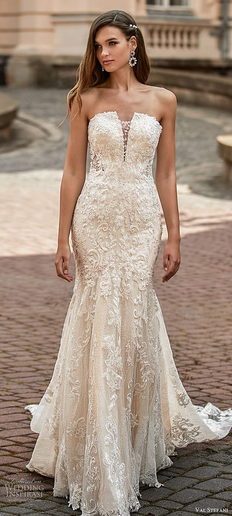 val stefani spring 2021 bridal strapless straight across neckline fully embellished fit flare mermaid wedding dress chapel train (7) lv