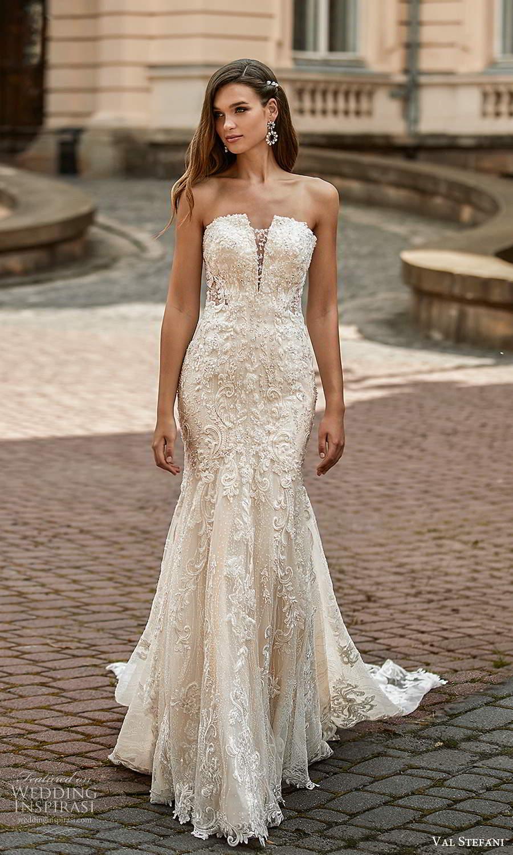 val stefani spring 2021 bridal strapless straight across neckline fully embellished fit flare mermaid wedding dress chapel train (7) mv