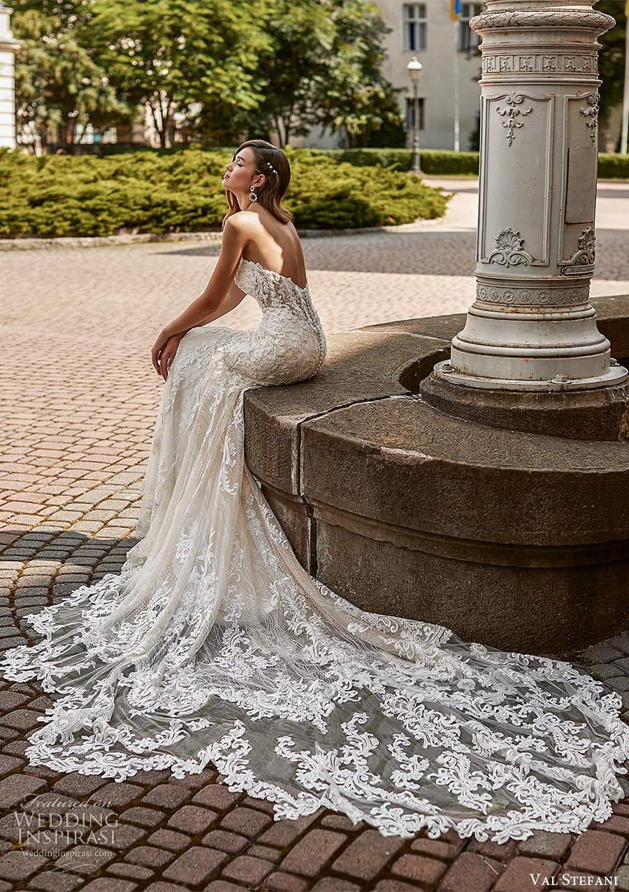 val stefani spring 2021 bridal strapless straight across neckline fully embellished fit flare mermaid wedding dress chapel train illusion back (7) bv