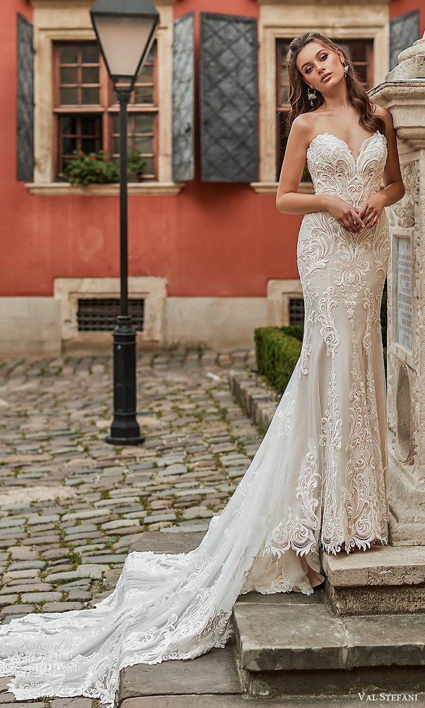 val stefani spring 2021 bridal strapless sweetheart neckline fully embellished trumpet mermaid wedding dress chapel train (4) fv
