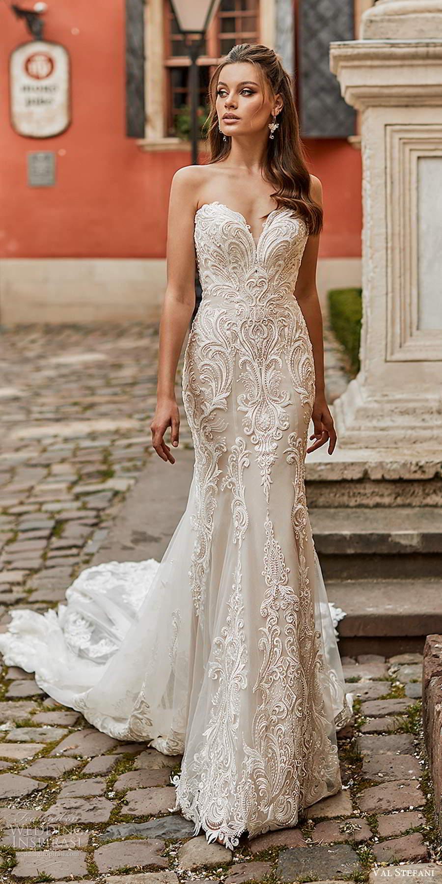 val stefani spring 2021 bridal strapless sweetheart neckline fully embellished trumpet mermaid wedding dress chapel train (4) mv
