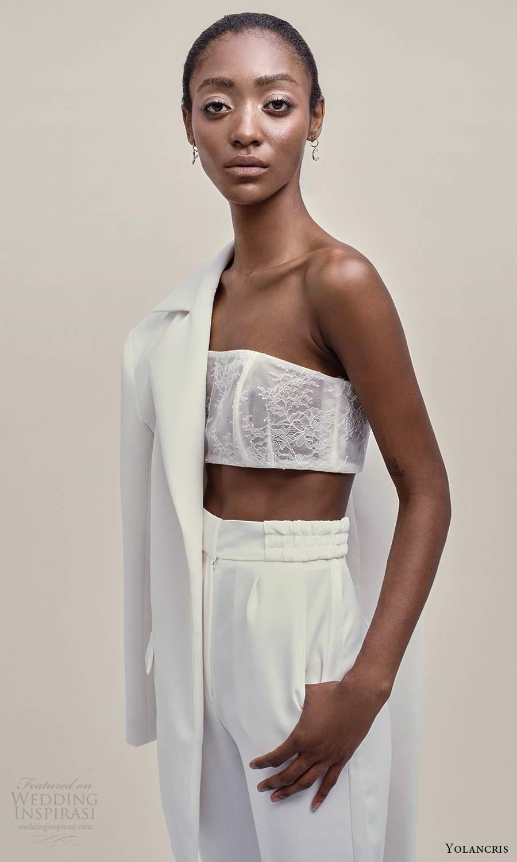 yolancris 2021 bridal 3 piece jacket crop top pants wedding dress (19) mv