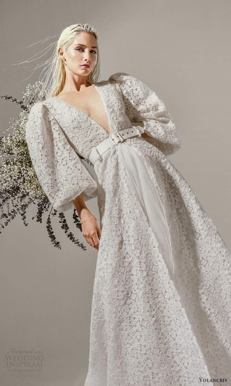 yolancris 2021 bridal 3 quarter puff sleeves plunging v neckline fully embellished lace a line wedding dress (4) mv
