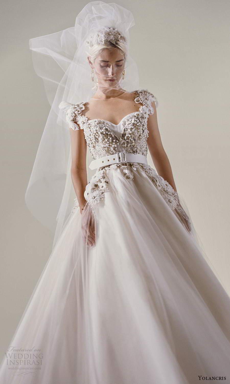 yolancris 2021 bridal cap sleeves sweetheart neckline heavily embellished bodice a line ball gown wedding dress (27) mv