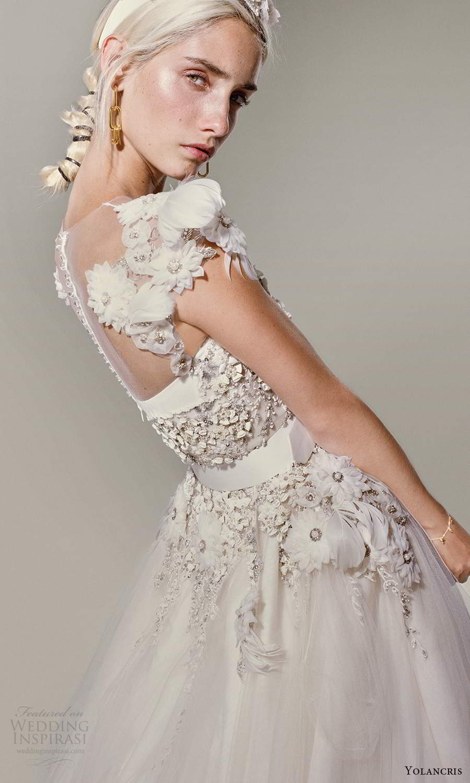 yolancris 2021 bridal cap sleeves sweetheart neckline heavily embellished bodice a line ball gown wedding dress (27) zsv