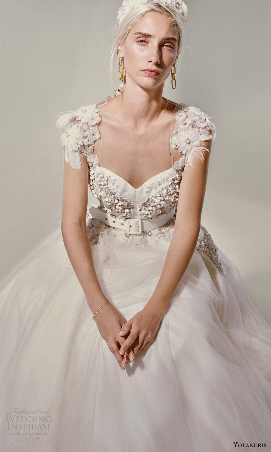 yolancris 2021 bridal cap sleeves sweetheart neckline heavily embellished bodice a line ball gown wedding dress (27) zv