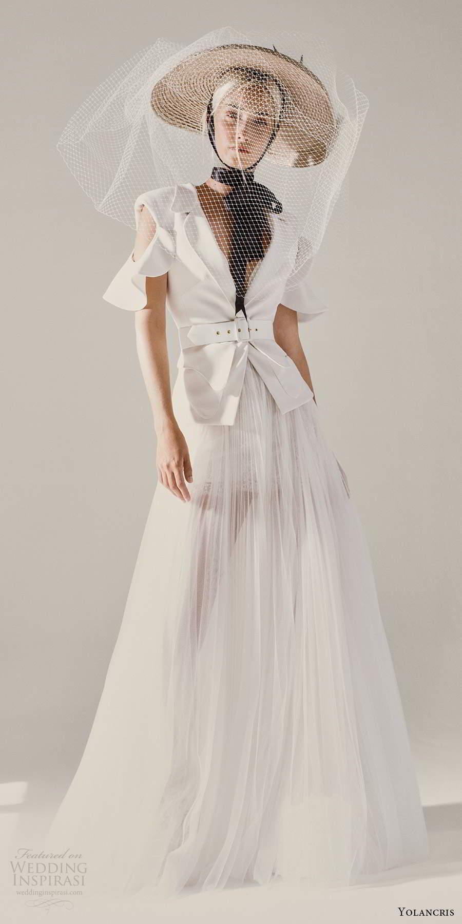 yolancris 2021 bridal cold shoulder collar v neckline jacket sheer a line skirt two piece wedding dress (24) mv