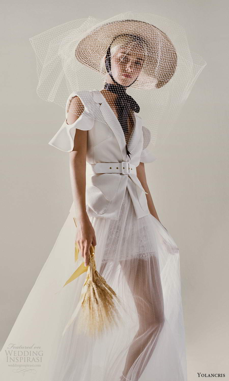 yolancris 2021 bridal cold shoulder collar v neckline jacket sheer a line skirt two piece wedding dress (24) zv