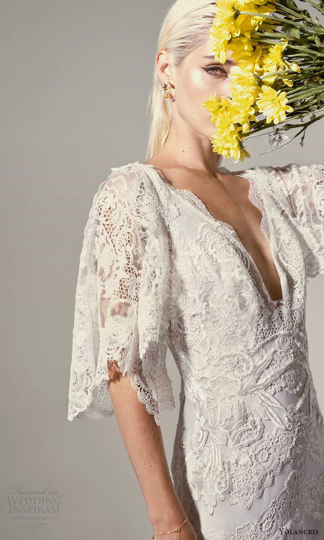 yolancris 2021 bridal elbow length flutter sleeves v neckline fully embellished lace boho a line wedding dress chapel train (18) mv