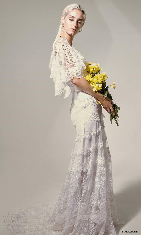 yolancris 2021 bridal elbow length flutter sleeves v neckline fully embellished lace boho a line wedding dress chapel train (18) sv